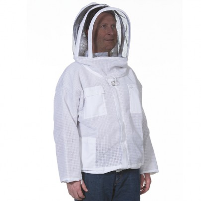 vented beekeeping jacket with fencing veil