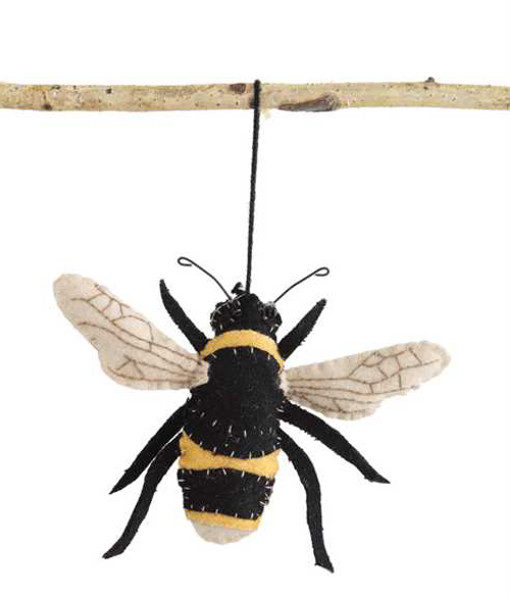 Fabric Embroidered Bee Ornament