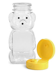 Plastic Squeeze Honey Bear Bottles with lids